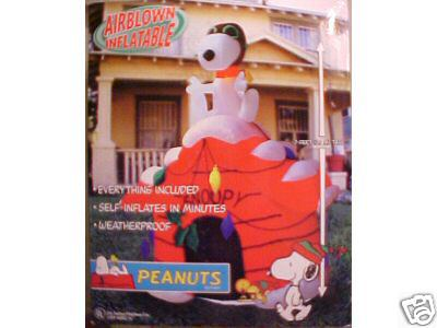 inflatable snoopy flying ace on decorated doghouse 7 feet tall