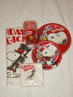 Snoopy magician with Woodstock rabbit - Tablecloth (54  x 102 ) $12 - Large paper plates package/8 $7 SOLD - Small paper plates package/8 $5 SOLD & Snoopy Hallmark Items